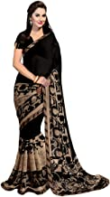 ANNI DESIGNER Raniyal Georgette Saree with Blouse Piece (Black Gerog_Black_Free Size)