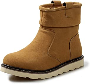 TONGDAUAE Ankle Boots for Men Snow Boot Suede Upper Pull on Round Toe Vegan Anti-slip Warm Plush Inside Flat Casual