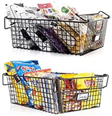 "KEEP IT NEAT & TIDY: Use the GranRosi farmhouse style metal basket set of 2 to stay on top of any clutter in your kitchen, pantry, bathroom & other areas in your home; The XL metal storage baskets (16x12x6"") offer ample space to organize & store all ..."