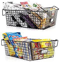 2 black wire pantry baskets that can be stacked