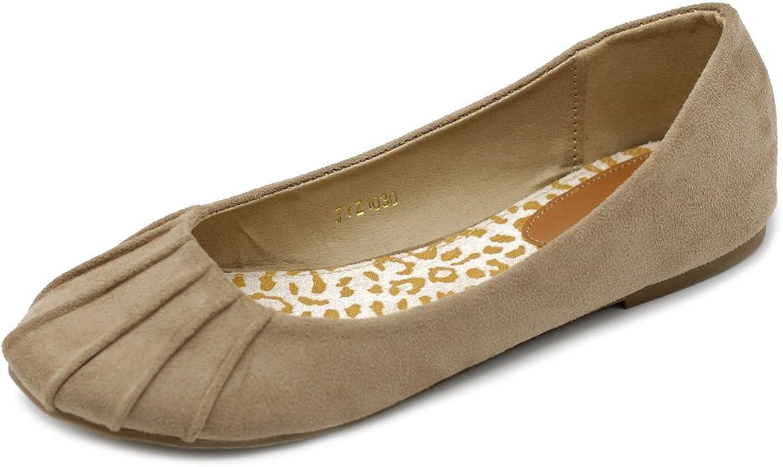 Ollio Women's Ballet shoes Comfort Faux Suede Flat
