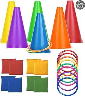 OOTSR [Paquete de 24] Juegos de Lanzamiento de Anillos, Conos, Bolsas de Frijoles, 3 en 1 Juego al Aire Libre para Niños y Adultos