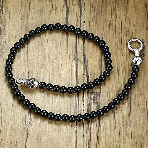 DUEJJH Co.,ltd Necklace Men Hippie Choker Black Natural Carnelian Stone Beads with Stainless Steel Skull Gothic Necklace Jewelry 20In