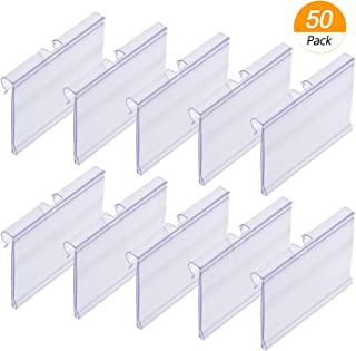 Meetory - Juego de 50 etiquetas de plástico transparente para estante de alambre (6 cm x 4 cm)