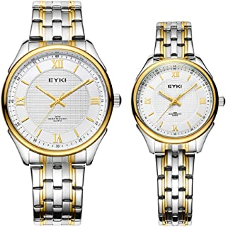 Valentine's Romantic Watch, Set of 2 Simple Crystal Roman Numeral Watches, His and Hers Quartz Analog Steel Wrist Watches Gifts for Lovers (Color : Gold)