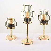 Candlestick Holders 3pcs European-Style Creative Home Iron Desktop Golden Candlesticks Modern Simple Shaped Geometric Cand...