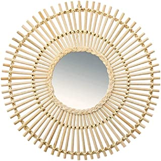 Nordic Style Hanging Mirror Decorative Mirror Rattan Wall Hanging Decoration Wall Jewelry Personality Round Mirror Wall Mirror