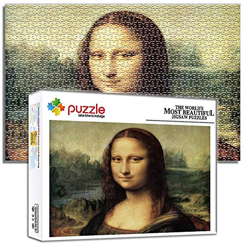 Generichaoge 1000 Piezas Puzzle 4 Años para Adultos Educa Obra De Arte Adolescentes Rompecabezas Cuadro Famoso La Sonrisa De Mona Lisa 29.52 X 19.68 Pulgada