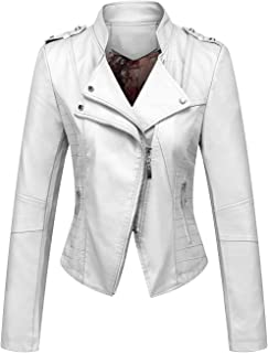 chouyatou Women's Candy Color Asymmetric Zip Slim Faux Leather Cropped Moto Jacket