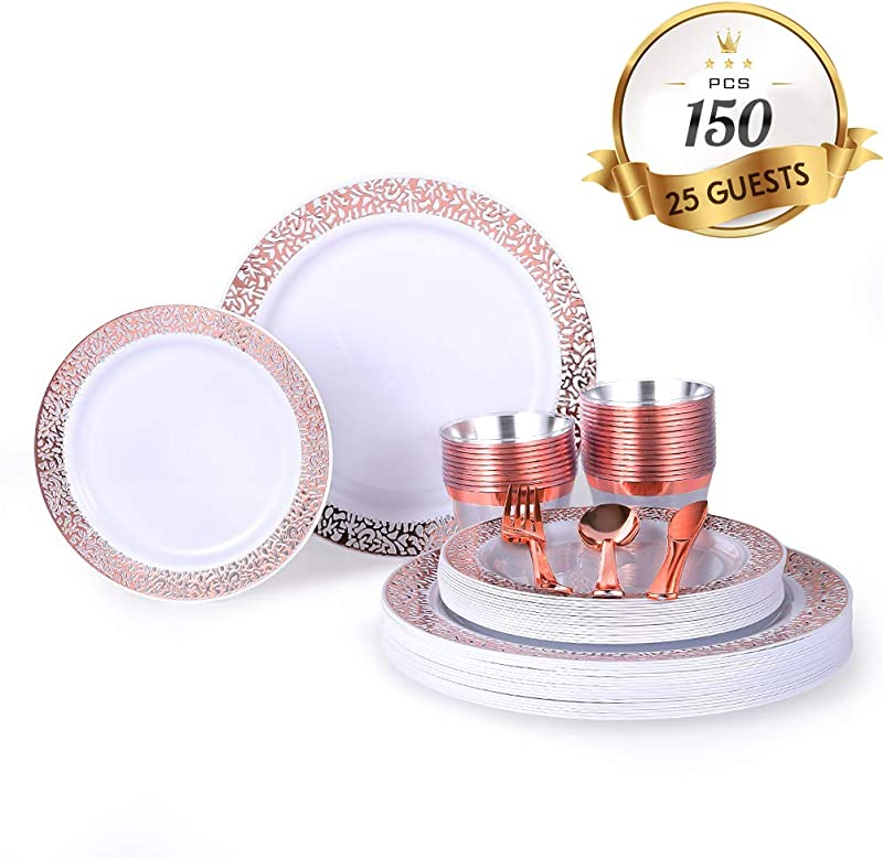 150 Piece Rose Gold Plates With Plastic Silverware Elegant Lace Disposable Place Setting Includes 25 Dinner Plates 25 Dessert Plates 25 Forks 25 Knives 25 Spoons 25 Cups