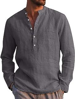 AUDATE Mens Casual Cotton Shirt Autumn Winter Long Sleeve Band Collar Henley Shirt Tops