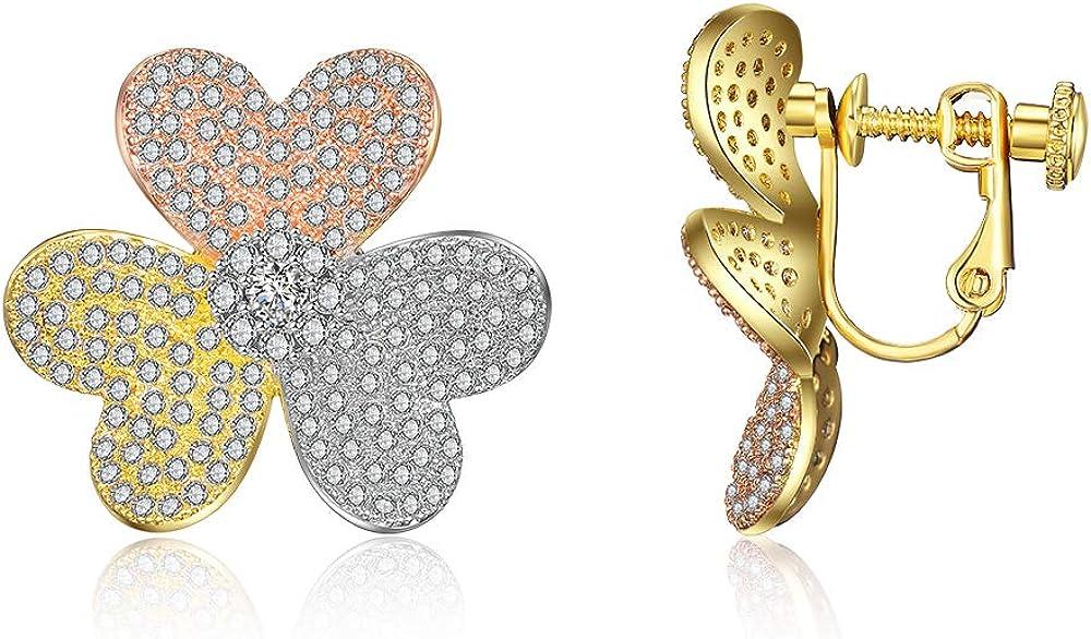 Aprilery Non Piercing 18K Gold Earrings Three Tone Gold Flower P