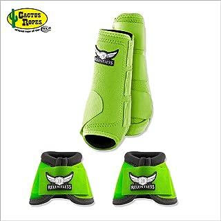 CACTUS ROPES Medium Lime Relentless Trevor Brazile Horse 2 Front Leg Sport 2 Bell Boot Set