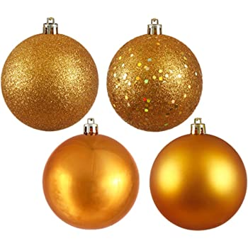 "Vickerman 4ct Antique Gold Shatterproof 4-Finish Christmas Ball Ornaments 6"" (150mm)"