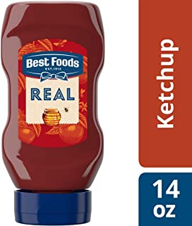 Best Foods Real Ketchup Squeeze Bottle Sweetened only with Honey, Gluten Free, No Artificial Colors, Flavors, or Preservatives, Made with Non GMO Sourced Ingredients, Kosher, 14 oz, Pack of 12