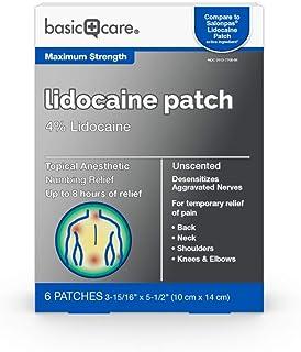 Amazon Basic Care Lidocaine Patch, 4% Lidocaine, Topical Anesthetic, Desensitizes Aggravated Nerves, 6 Count