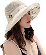 Women Bucket Hat Summer Beach Sun Hats for Women UPF Woman Foldable Floppy Travel Packable UV Hat Cotton Wide Brim Hat