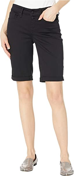 Briella Shorts with Mock Fly and Roll Cuff in Black