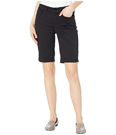 NYDJ Briella Shorts with Mock Fly and Roll Cuff in Black (Black) Women