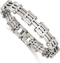 ICE CARATS Stainless Steel Bracelet 7.75 Inch Man Link Men Fashion Jewelry Gift for Dad Mens for Him
