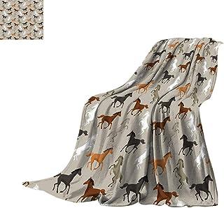 Horses Fleece Blanket, Abstract Stallions Simple Design Equestrian Animals Galloping Curvet Illustration Super Soft Blanke...