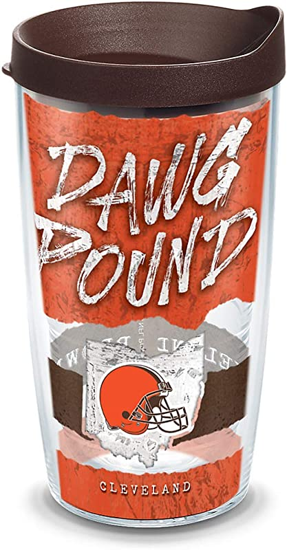 Tervis 1319586 NFL Cleveland Browns Statement Insulated Tumbler With Wrap Lid 16 Oz Clear