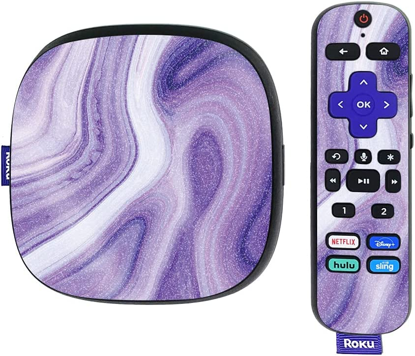 MightySkins Glossy Glitter Skin Compatible with Roku Ultra HDR 4K Streaming Media Player (2020) - Lavendar Acrylic   Protective, Durable High-Gloss Glitter Finish   Easy to Apply   Made in The USA