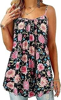 FSSE Women's Tank Spaghetti Strap Floral Plus Size Tank Top Cami Blouse Shirt
