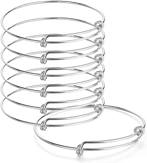 Sromay 8 Pieces Stainless Steel Wire Blank Bangle Bracelet Expandable Charm Bracelet Double Loops Style for DIY Jewelry Making, 2.6 Inch