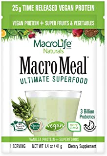 MacroLife Naturals MacroMeal Vegan Superfood Powder Time-Released Protein Blend, Greens, Digestive Enzymes,...