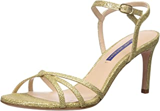 Stuart Weitzman Women's Starla 80 Sandal, Gold noir, 6.5 Medium US