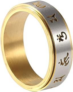 Gold Plated Spinning Tibetan Mantra Om Mani Padme Hum Ring Men/Womens