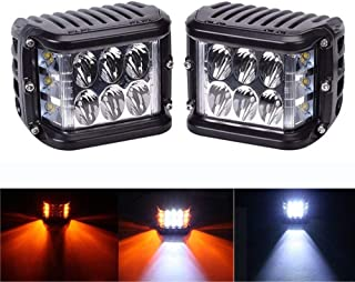 Side Shooter LED Pods, Milight 2Pcs 4 Inch 36W LED Work Light Bar White Amber Led Driving Light Fog Lamps Square Three Sides Cube Off Road for Truck Boat Jeep SUV ATV UTV Pick Up Car (Waterproof)
