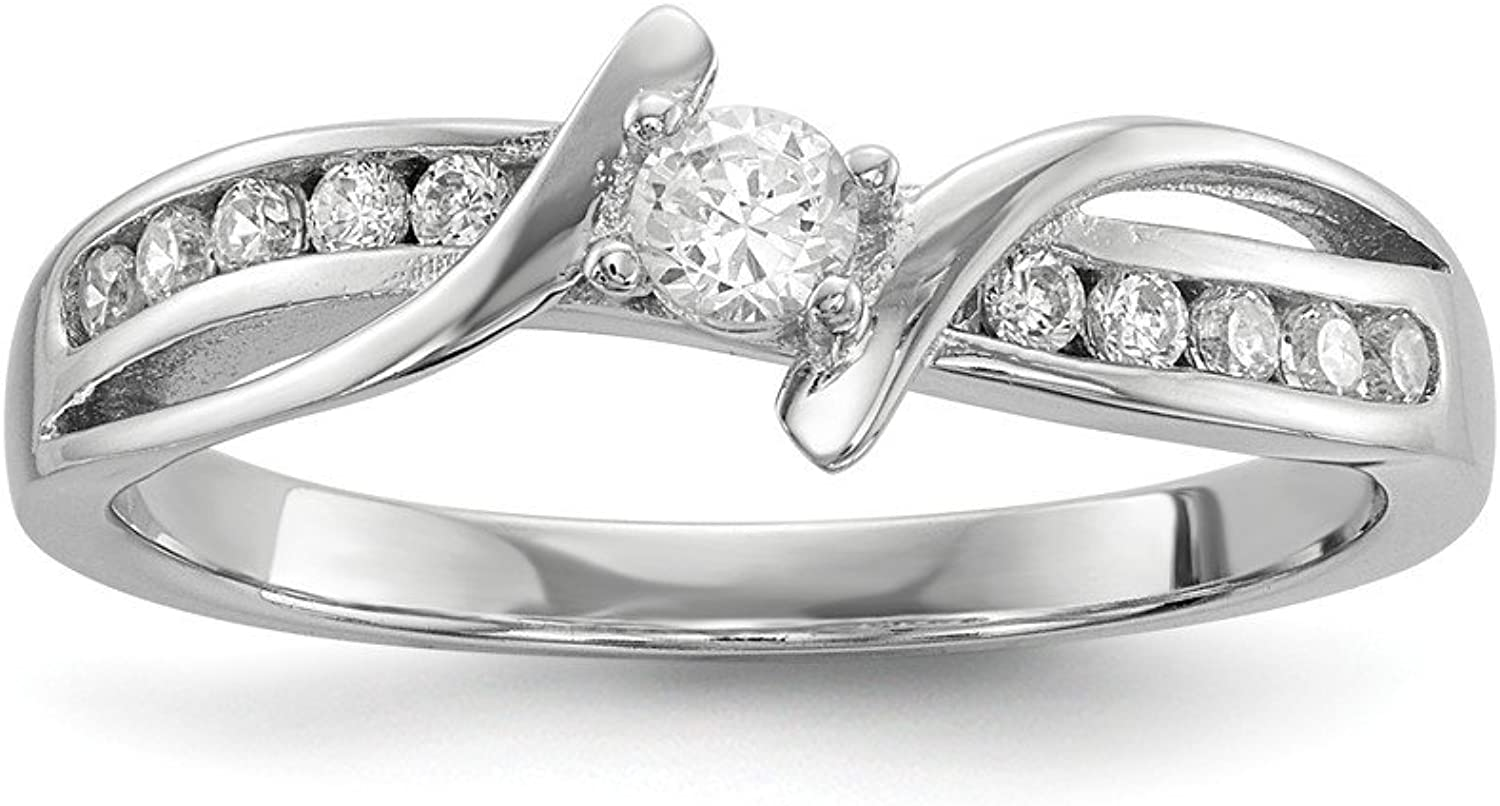925 Sterling Silver Rhodiumplated Cubic Zirconia Ring