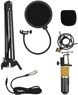 [クリスマスプレゼント]広いダイナミックレンジのコンデンサーマイク、メタル3mA放送20hz-20khzマイクセット、ボイスチャット用のスタジオ録音用(Flat golden black)