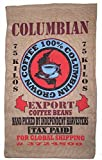 Brand New Novelty Columbian Coffee Storage or Decor Burlap Bag