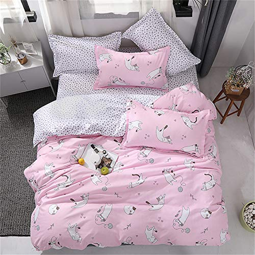 Fansu 3 Bedding Set Pieces, Microfiber Quilt Covers Romantic Pattern Zipper Style One Bedding Set Two Pillowcases (Bed 90-150x200cm, Love Pink Cat)