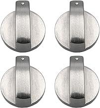 4 Piezas Metal 8 mm Universal Plata Cocina de Gas Botones de Control Adaptadores Horno Interruptor Cocina Control de Superficie Cerraduras, Estufa Horno Cocina Interruptor de Botón de Control