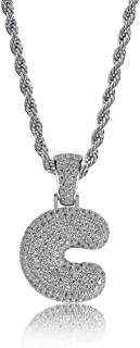 Hip Hop Jewelry Iced out Bubble Letter Initial Pendant Necklace Silver Rope Chain