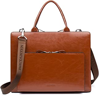 BOSTANTEN Leather Briefcase Shoulder Laptop Business Vintage Slim Bags for Men & Women