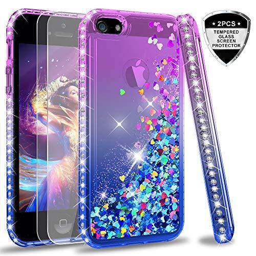 LeYi Custodia iPhone 5S / iPhone SE/iPhone 5 / iPhone SE 2 Glitter Cover con Vetro Temperato [2 Pack],Brillantini Diamond Liquido Sabbie Mobili Bumper Case Custodie Donna ZX Purple Blue Gradient