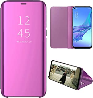 OPPO A53 Case, EabHulie Mirror Plating Hard PC +PU Leather Semi-transparent Standing View Case Cover for OPPO A53 Purple