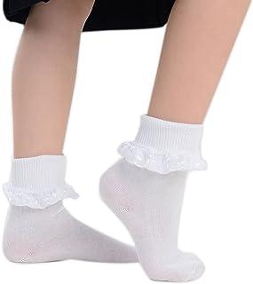 adam & eesa, 3 y 6 pares de calcetines tobilleros con volantes blancos y ricos en algodón para niñas, tamaños del Reino Unido