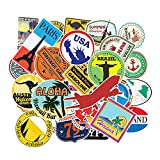 Travel Vacation Stickers for Luggage 100 Pcs Vinyl Waterproof Landmark City Attractions Sticker Pack for Laptop Guitar Skateboard Car Motorcycle Hydro Flask Suitcase for Adults Teens Stickers Decals