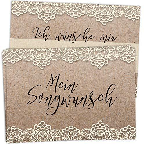 50 Musikwunschkarten für Hochzeit im Vintage/Kraftpapier Look mit Spitze – hochwertiger Premium-Karton, DIN A7