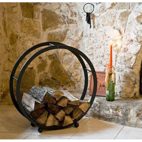DanDiBo Support bois de cheminée Corbeille bois Rond D-70cm noir 21214 Etagère bois de cheminée Porte bois de chauffage Etagère en bois Etagère pour bois
