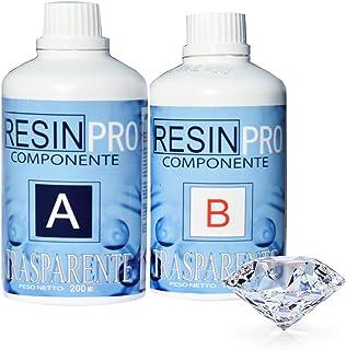 Resin Pro - Resina Epossidica Trasparente Atossica - Resina + Indurente, Effetto Acqua, Lucida, per Creazioni Artistiche, ...