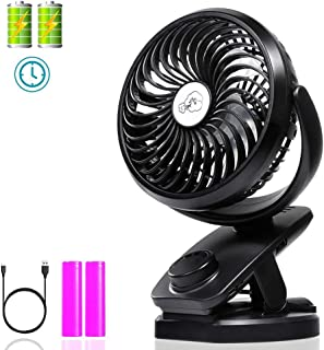 Clip on Fan with Double Battery, Usb Desk Fan, Adjustable Speeds, Rechargeable Battery Operated. Useful for Baby Strollers, Office Table, Travel, Car, Outdoors, with Sponge for Essential Oils or Water