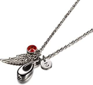 Jewelry Stainless Steel Urn Pendant Necklace with Pendant Infinity, Angel Wing, 26 Letters & 12 Birthstones Ashes Pendant Memorial Chain