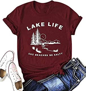 Lake Life T-Shirt Women Funny Letter Print Cuz Beaches Be Salty Short Sleeve Graphic Tee Ladies Casual Loose Tops